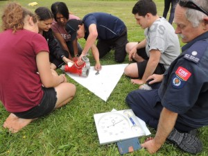 Students assembling fire safety equipment in the shortest time.